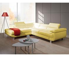 Luccia beige divano divano, divano angolare, forma L, elegante con cassetto sotto letto, funzione letto divano letto kopflehenen e braccioli regolabili, delicato sulla pelle