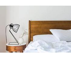 Rebecca Mobili RE6270 Abat-Jour Nera Stile Nordico, Lampada da Comodino per Camera da Letto, Metallo, Attacco E14 Max 25 W-Cavo 150 cm, Nero, 38x25x15 cm