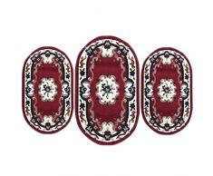 Carillo Set Parure Tappeto + Scendiletto 3 pz Tappeti ovali Chinese Garden Dis.2038 P428 Bordeaux