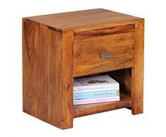Wohnling WL1.368 Sheesham, Comodino in legno massiccio con un cassetto e un ripiano portaoggetti, 40 x 30 x 40 cm, Marrone (Braun)