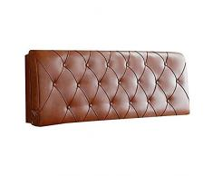N / A Cuscino Comodino Testata Cuscino- Modern Simplicity Cuscino in Pelle Marrone Cuscino Comodino Schienale Cuscino Cuscino Lettura Cuscino-con testiera -200 * 58 * 6 cm_Marrone