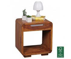 FineBuy legno massello comodino progettare Nachtkommode alta 55 cm con cassetto del comodino per Boxspringbed Landhaus