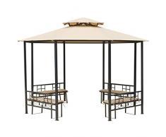 Outsunny Gazebo da Giardino elegante 4 Panche imbottite con schienale, Beige, 380 x 265 cm
