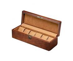 LSLS Portagioielli 6 Slot Watch Box, Custodia per Orologio con valletto, Vetro Topped Wooden Watch Display Case Custodia organizzatore, Custodia per Gioielli Organizzatore Gioielli
