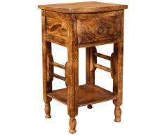 Tavolino comodino Shabby in legno massello finitura noce L31xPR28xH55 cm