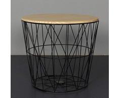 SCHS Nordic Ins Wind Tavolino da Salotto Minimalista in Ferro battuto Tavolino Piccolo Tavolino Rotondo Comodino Angolare Cestino portaoggetti, Medio 40 cm