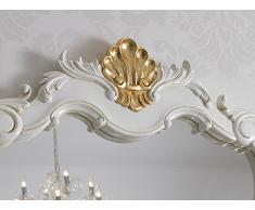 Simone Guarracino Como lavabo 2 porte e specchio stile Barocco Decapé avorio particolari foglia oro marmo crema pomelli Swarovski