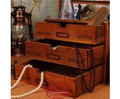 Y&M Desktop Organizer. armadi. cassetto box. cassapanca... casella di gioielli vintage di qualità del legno massello , roast color