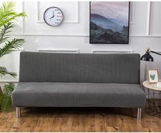 Futon - Copridivano elasticizzato senza braccioli, antiscivolo, elastico, pieghevole, adatto per divano letto pieghevole (grigio argento, jacquard lavorato a maglia)