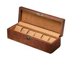 Gymqian 6 Slot Watch Box, Custodia per Orologio con Valletto, Vetro Topped Wooden Watch Display Case Custodia Organizzatore, Custodia per Gioielli moda