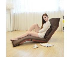 hj Pieghevole Sedia a Sdraio Relax Pigro Divano Letto Sedile con più Regolabile Lounge Lounge Chaise Longue Futon Materasso Sedile Cuscino della Sedia (Color : Brown)