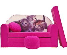 Pro Cosmo H6-Divano Letto futon con Pouf/poggiapiedi/Cuscino, in Tessuto, Colore: Rosa, 168 x 98 x 60 cm, Cotone