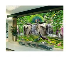 carta da parati 3d della foto su ordinazione Roccia fresca del fiore del pavone del valletto Decorazione domestica soggiorno 3d murales di carta da parati per pareti 3 d-450X300CM
