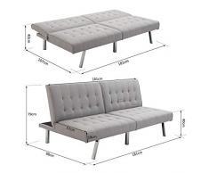 Nuofake - Divano letto futon a due posti, con schienale reclinabile, struttura in legno, 98 x 181 x 79 cm, colore: grigio