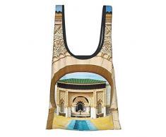 GIERTER Architettura tradizionale marocchina in stile islamico orientale con intaglio e foto letto arte blu avorio giallo riutilizzabile pieghevole ecologico borse della spesa
