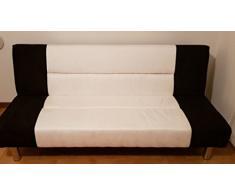 Bagno Italia Divano Letto sofà 175x77 3 posti Bicolore Bianco Nero antiribaltamento Salotto Soggiorno Modello Susy I