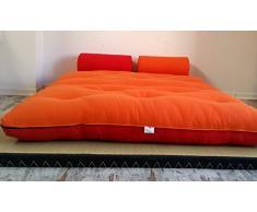 Divano letto futon con braccioli double face base tatami colori rosso/arancio misura futon 180 x 200 cm