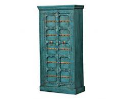 Casa Moro | Armadio orientale Adna 90x40x185 cm (L/I) turchese in stile coloniale | cassettiera stretta in vero legno alto in legno di mango | armadio per una vita semplicemente bella | CA321270