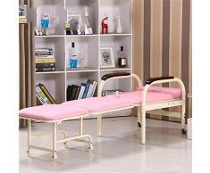 Letto Pieghevole Divano Letto Pieghevole Futon Chair Ruote Singolo Sleep Guest Home Bedroom Living Room Office Indoor Culla (Colore : Rosa, Dimensione : 190 * 50 * 40cm)