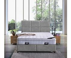 Letto a molle Madrid, con cassettone, in tessuto, letto matrimoniale 200 x 200 cm, colore grigio
