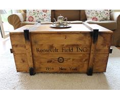 Uncle Joe´s Stile vintage shabby chic Roosevelt campo di zio Joe cassapanca, legno, marrone chiaro, medio, 85 x 45 x 48 cm
