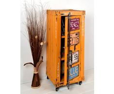Comodo/cassettone - colore: arancio giallo - stile: design industriale/container look/vintage - 105 x 44 cm con rotelli