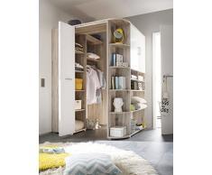 AVANTI TRENDSTORE - armadio ad angolo in imitazione di quercia sabbia/bianco, ca 133-146/198 cm