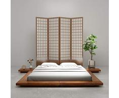 Fesjoy Futon Bed Frame Letto Matrimoniale in Legno massello per materassi da 160 x 200 cmStile Giapponese per lHome Hotel