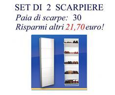 Scarpiera Salva-Spazio Slim: Set di DUE Scarpiere, Bianche per 30 PAIA max di scarpe e stivali. Super Offerta!