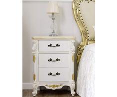 Comodino stile Barocco Decapé avorio particolari foglia oro