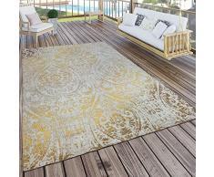 Paco Home Tappeto per Interni ed Esterni, Motivo Orientale, Giallo Crema, Dimensione:160x220 cm