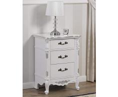 SIMONE GUARRACINO LUXURY DESIGN Comodino Gerald Stile Barocco Moderno Bianco Laccato e Foglia Argento