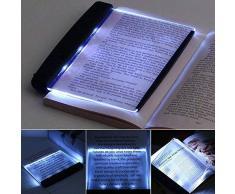 Luce notturna a LED da lettura piatta a forma di libro, lampada da lettura a cuneo per segnalibro, antiriflesso, dimmerabile, luce regolabile, ideale per leggere al buio, leggere piccole stampe (nero)