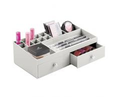 InterDesign Drawers Organizer Portagioie | Mini cassettiera con 2 Cassetti per trucchi, accessori ecc. | perfetti come Cassetti ufficio scrivania | Plastica – grigio