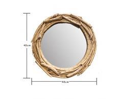 HAMIMI Specchio da Parete 400 x 400 Mm Appeso al Muro Rotondo Grande Armadio con Specchio per Trucco in Legno Specchio per Trucco da Appendere a Parete