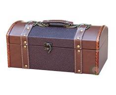 Vintiquewise Appendiabiti Cassettiera comodino in pelle, con rivestimento in velluto, colore: marrone