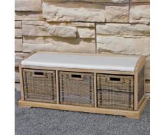 Panca cassettiera con 3 ceste multiuso design decorativo legno 112x37x46cm
