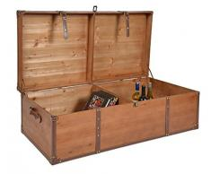 ts-ideen Baule Cassapanca stile Shabby vintage in legno color Ciliegio