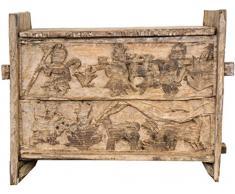 Guru-Shop Cassapanca o Panca Tribale Rustica in Legno Orissa con Ornamenti e Intagli - Modello 9, Avorio, 58x75x32 cm, Cassapanche, Scatole, Casse