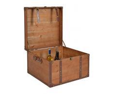 ts-ideen Bauletto Cassapanca stile Shabby vintage in legno color Ciliegio