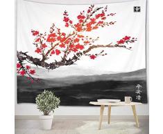 LB 200x150cm Arazzo Red Cherry Blossom Arazzo da Parete giapponese Telo da Parete Nero Grigio Bianco Arte Muraria per Soggiorno Camera da Letto Dormitorio Decorazione