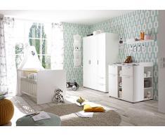 AVANTI TRENDSTORE - Bimbi - Serie di mobili per la cameretta dei Bambini o Neonati, in Legno Laminato di Colore Bianco Opaco (Armadio)