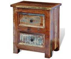 vidaXL Comodino con 2 cassetti in legno massello riciclato