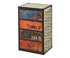 [en.casa] Comò con 4 Cassetti 66 x 40 x 30 cm Cassettiera in Stile Industriale/Vintage Comodino Multicolore con Bordi Rivestiti in Similpelle