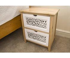 Comodino con 2 cassetti in legno massello bianco laser Cut tavolino moderno da salotto assemblato