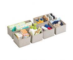 mDesign set da 6 scatole per armadio ? comode scatole portaoggetti e organizer in tessuto ideale per accessori e giocattoli - Colore: talpa, nature