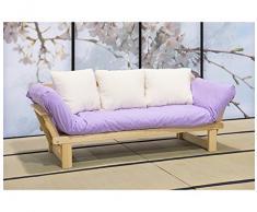 VivereZen - Divano letto futon - Sesamo a tre posti Con futon cotone polylatex 11 cm + 3 cuscini