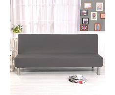 Jian ya na Pieghevole Divano Letto futon di Colore Solido Senza braccioli Fodera in Poliestere Tessuto Elastico all-Inclusive Copertura di Grey