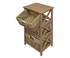 Ts-Ideen 4200 - Cassettiera in stile antico con 3 cestini in rattan, colore: Marrone