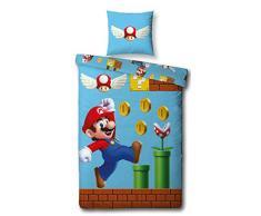 Character World - Set di Biancheria da Letto Double-Face, 100% Cotone, Motivo: Super Mario, 135 x 200 cm, 80 x 80 cm, 100% Cotone Linon, Blu, 135 x 200 cm